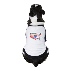 USA Map Small Pet Baseball Tee Cute Patriotic Gifts For Dog Owners