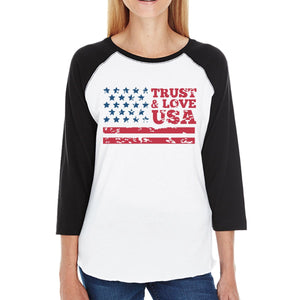 Trust & Love USA Womens Black Raglan T-Shirt 3/4 Sleeve Round Neck
