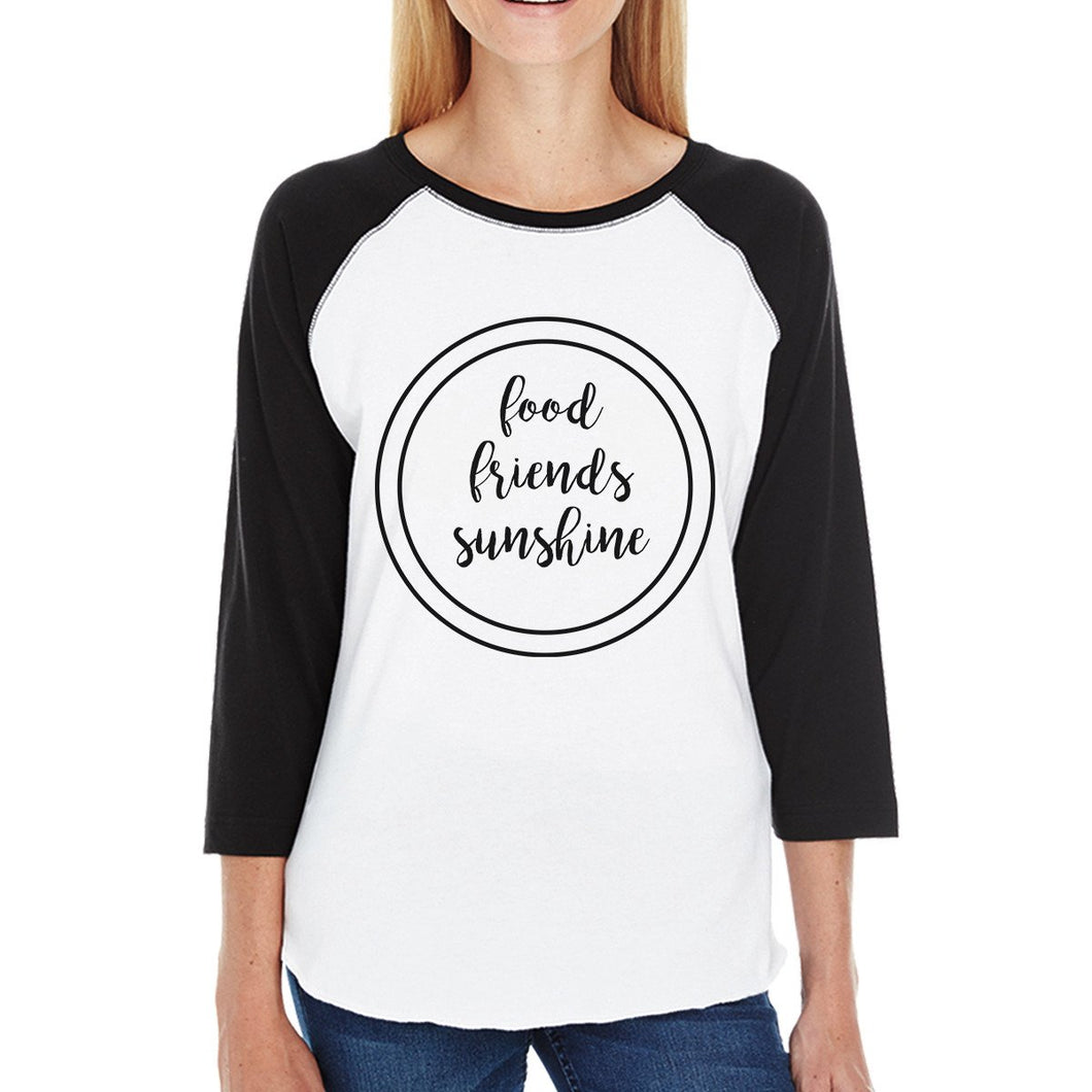 Food Friends Sunshine Black Sleeve Raglan Shirt For Women Cotton