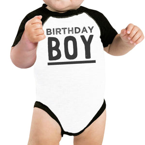Birthday Boy Black And White Baby Baseball Shirt