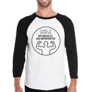 Muscles Are Importanter Mens Black And White Baseball Shirt