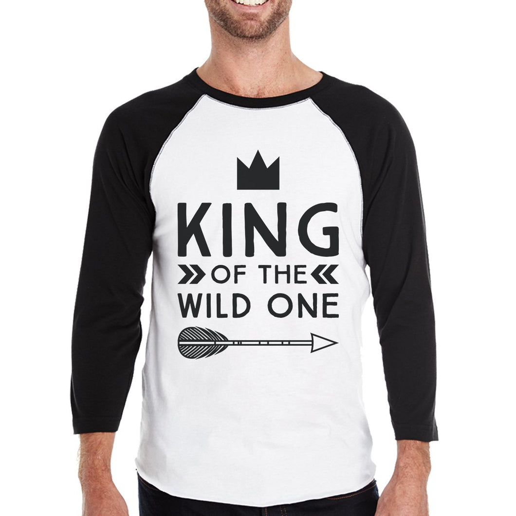 Wild One Feather Mens Black And White BaseBall Shirt