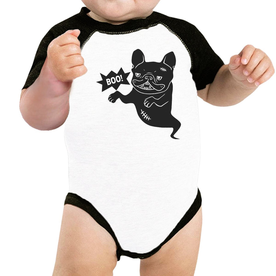 Boo French Bulldog Ghost Baby Black And White BaseBall Shirt