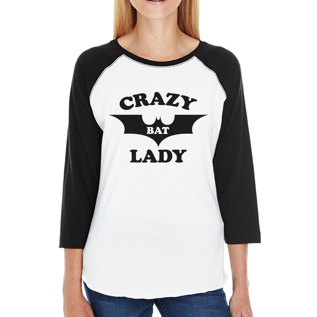 Crazy Bat Lady Womens Black And White Baseball Shirt