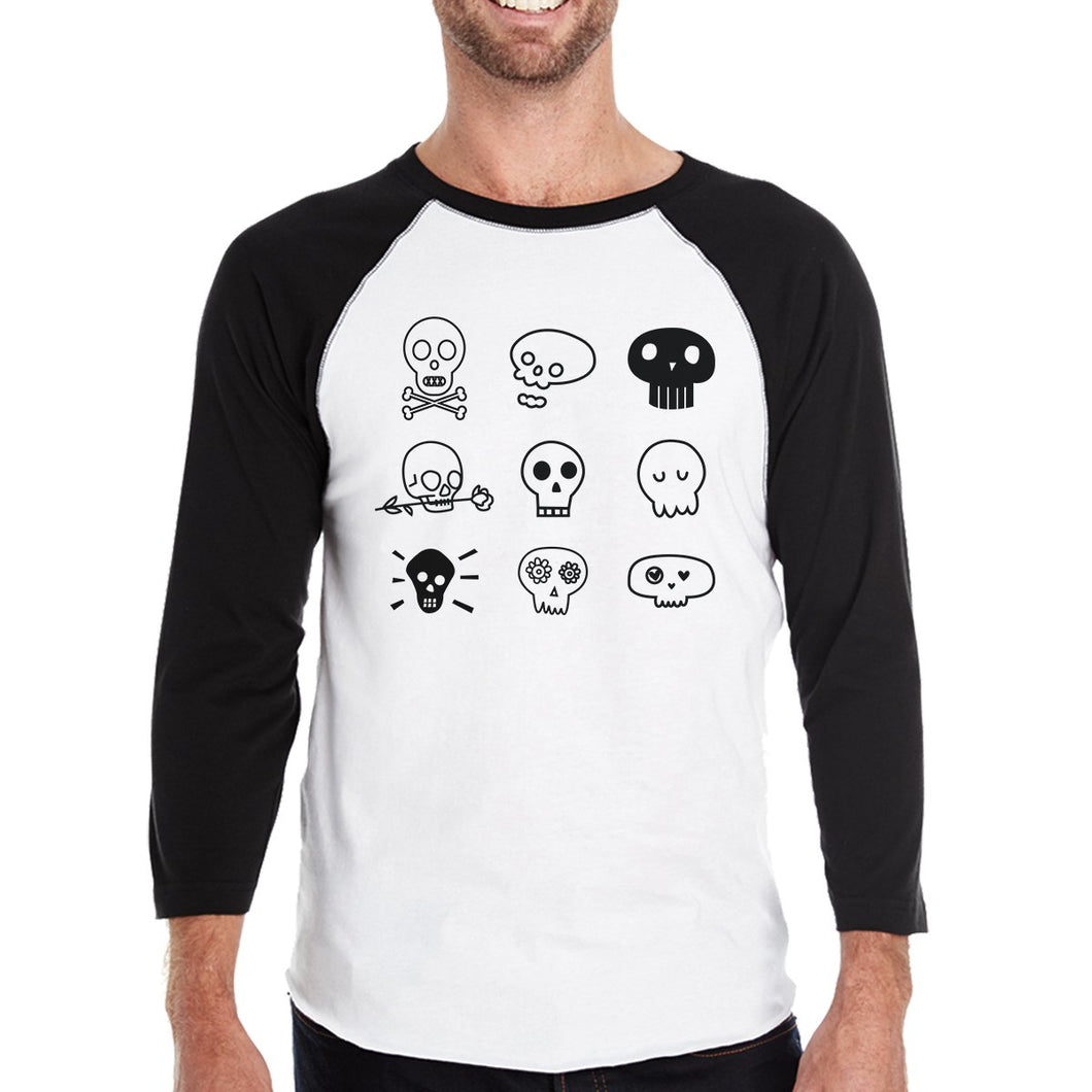 Skulls Mens Black And White Baseball Shirt