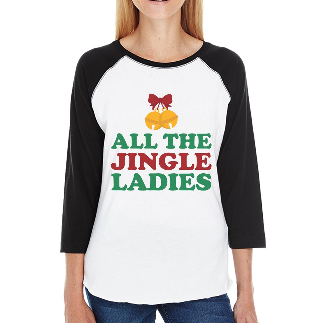 All The Jingle Ladies Womens Black And White Baseball Shirt