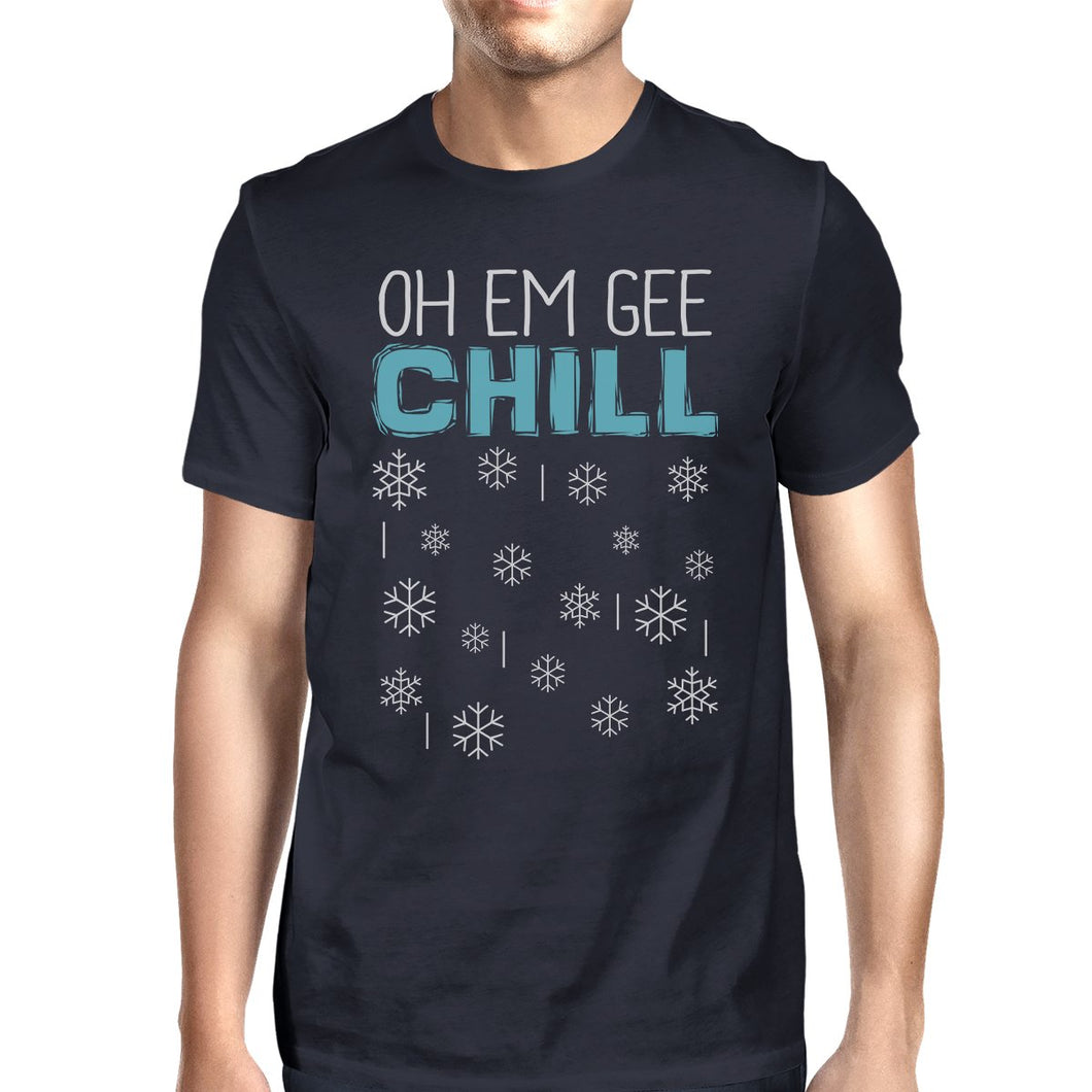 Oh Em Gee Chill Snowflakes Mens Navy Shirt