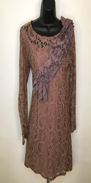 Brown and Pink Crotchet Long Sleeve Tunic