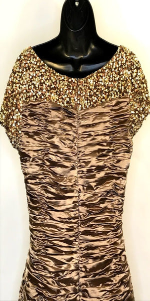 Gold Ruched Beaded After 5 Dress