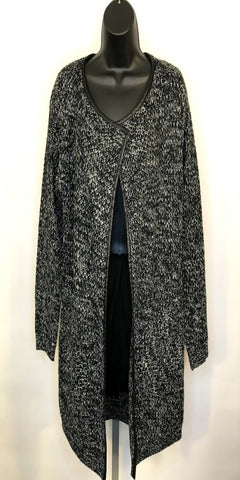 Black Hounds Tooth Cardigan with Faux Leather Trim