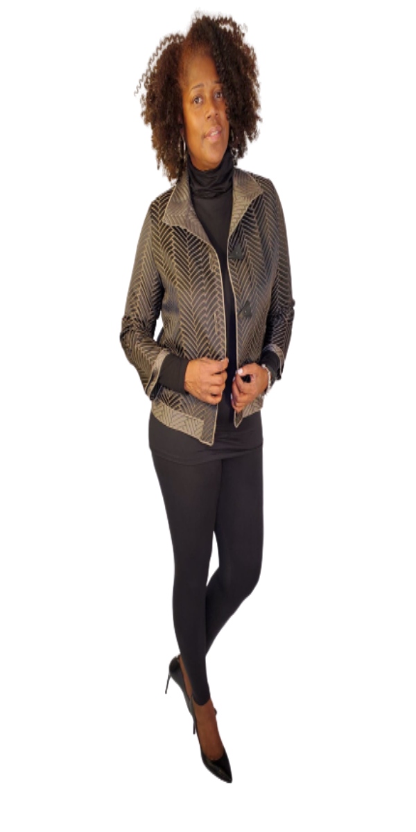 Black and Taupe Couture Jacket With Geometric Design and Triangle Buttons