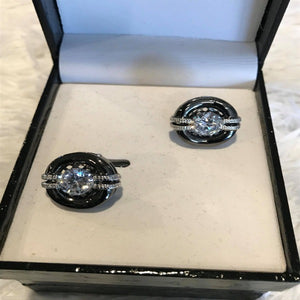 Black and Pewter Diamond Mens Cuff Links