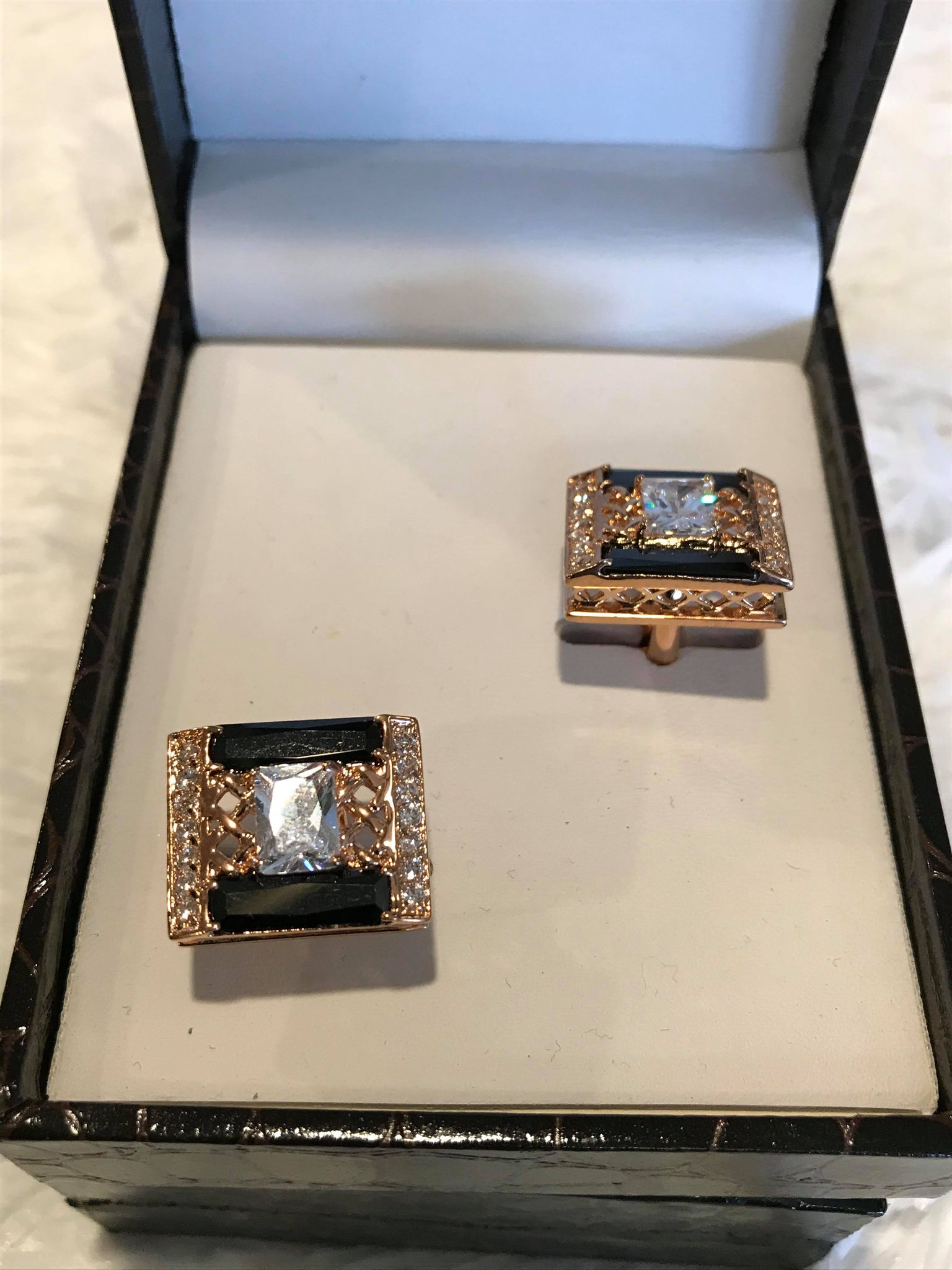 Gold and Black Diamond Mens Cuff Links