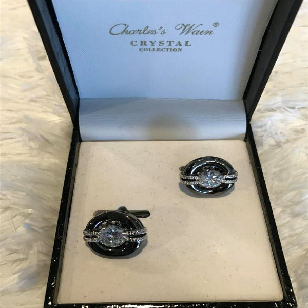 Black and Pewter Diamond Mens CuffLinks