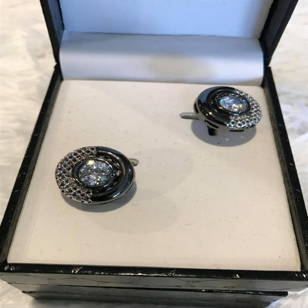 Black and Pewter Diamond Mens CuffLink