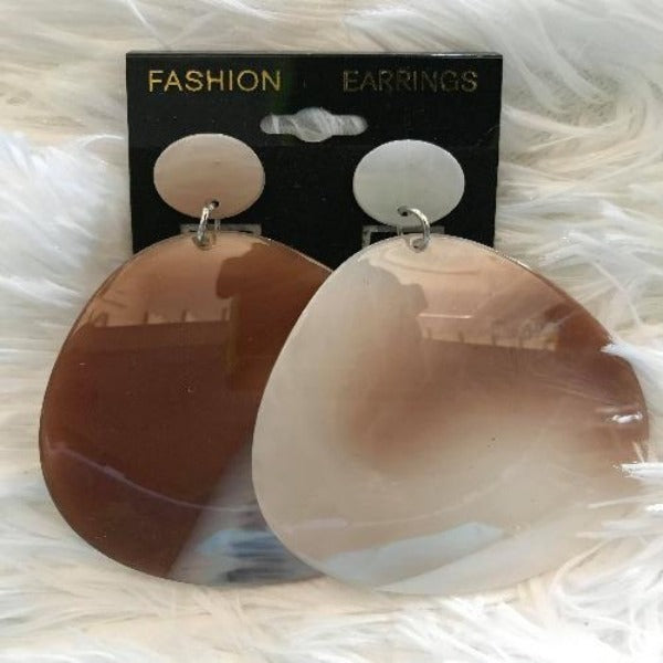 Large Brown And White Acetate Earrings