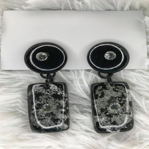 Large Black And Silver Clip-On Earrings