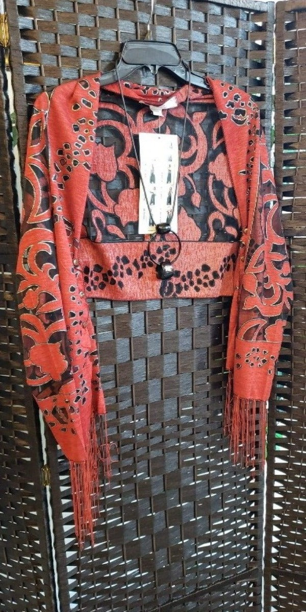 Red Burnout Bolero &-way Scarf