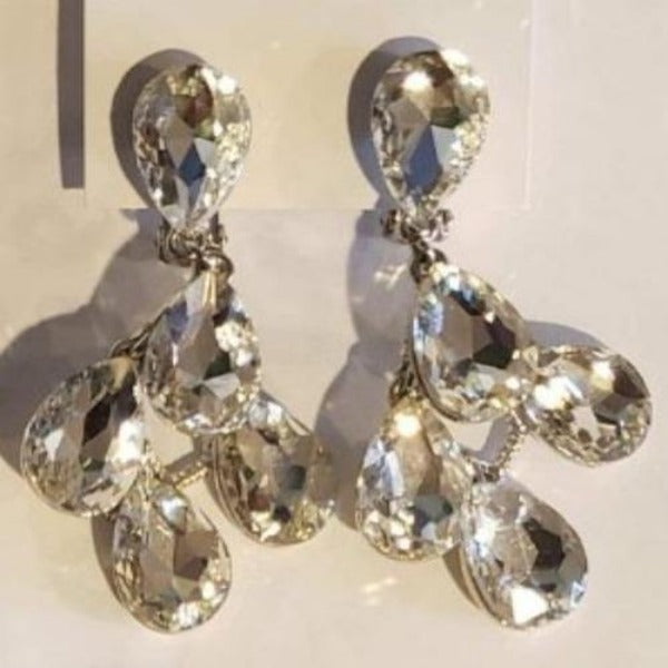 Large Crystal Tear Drop Clip-On Earrings