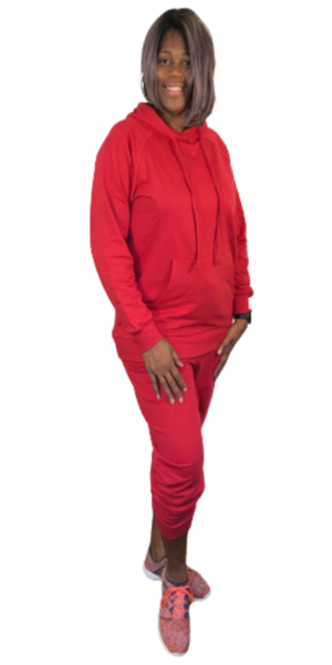 Red Two-Piece Hooded Jogger Set