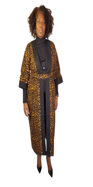Leopard Print and Black Kimono with Head Wrap