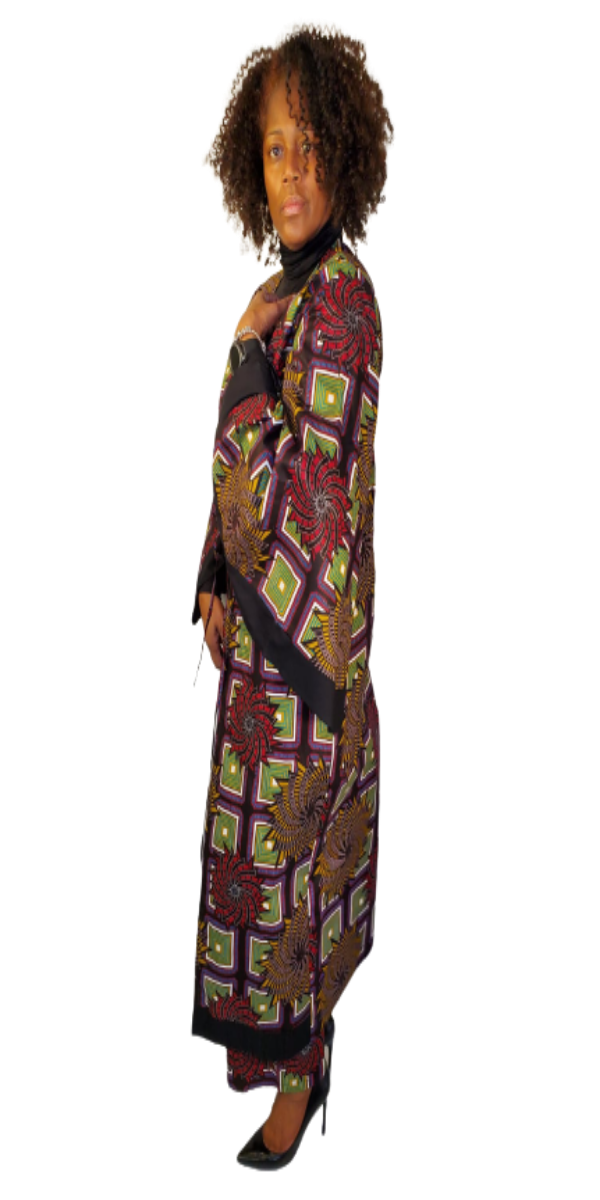 Two-Piece African Print Multi Brown and Green Kimono and Pant Set
