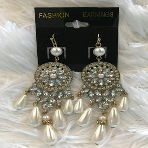 Dream Catcher Rhinestone and Pearl Earrings