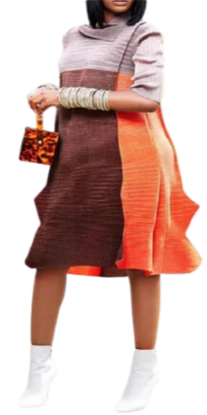 Brown And Orange Multi-Color Dress