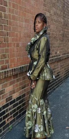 Two Piece Taffeta Skirt Suit with Leaf detail