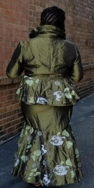Two-Piece Taffeta Skirt Suit with Leaf detail