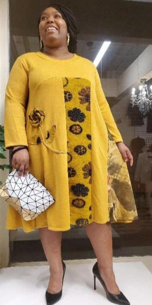 A-line Mustard Sweater Dress with Floral Design