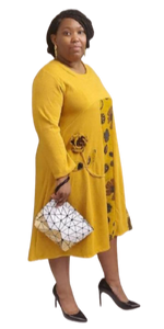 Mustard Yellow Knit Dress with Floral Design