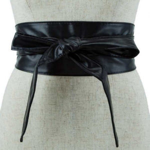 Black Kimono Style Faux Leather Belt