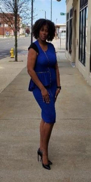 Two Tone Peplum Dress Royal Blue and Black