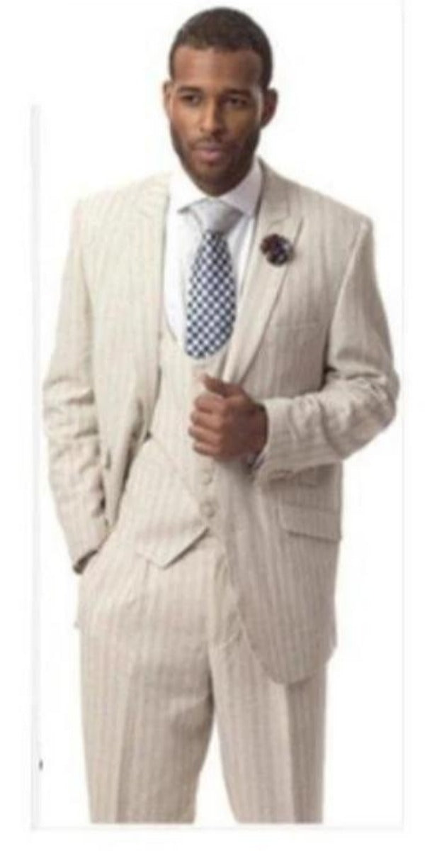 Mens Tan Three-Piece Suit