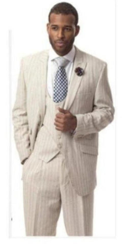 Mens Tan Three Piece Suit