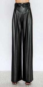 Faux Leather Wide Leg Pants With Circle Belt JP4524