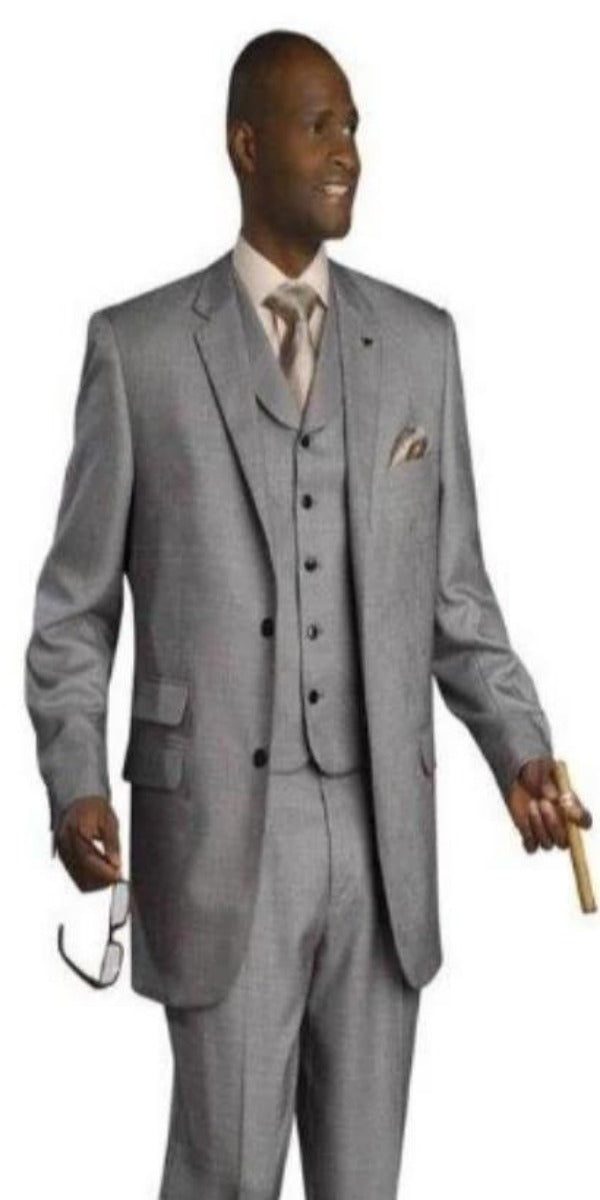 Mens Gray Three Piece Suit