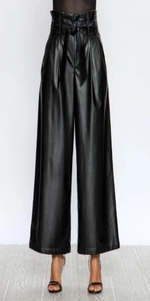 High-Waisted Vegan Leather Trousers