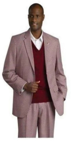 Mens Three Piece Wine Suit
