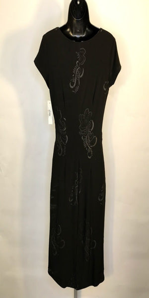Black Dress with Floral Textured Design