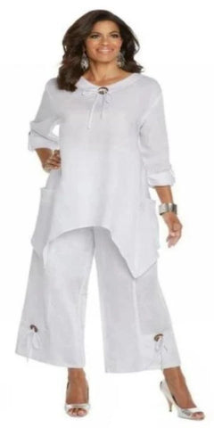 White Linen Two Piece set with wood look trim