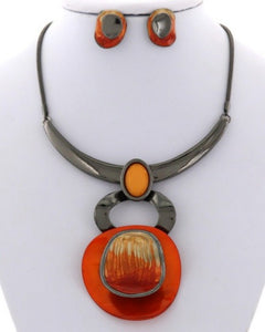 Hematite and Orange Necklace