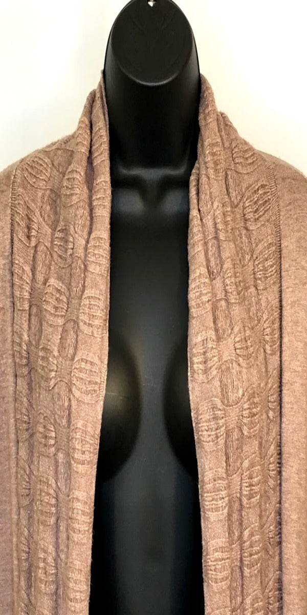 Light Brown Long Open Cardigan with Short Sleeve