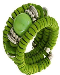 Three Layer Spiral Green Bracelet