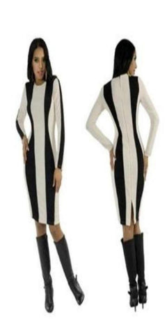 Long Sleeve Ivory and Black Symmetrical Striped Dress