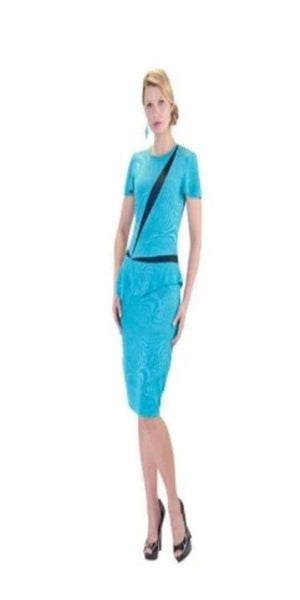 Two Tone Peplum Dress Aqua and Black