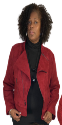 Wine Faux Suede Moto Jacket