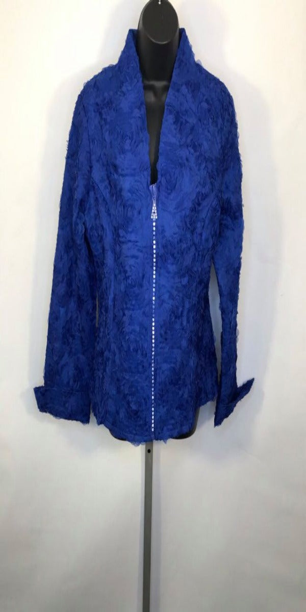 Royal Blue Floral Textured Jacket with Rhinestone Zipper