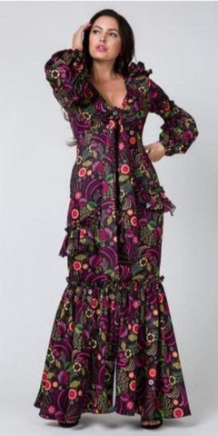 Deep V-Neck W/Bow Tie Puffy Sleeve Print Long Dress